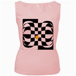 Dropout Yellow Black And White Distorted Check Women s Pink Tank Top Front
