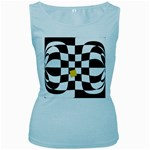 Dropout Yellow Black And White Distorted Check Women s Baby Blue Tank Top Front