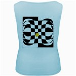 Dropout Yellow Black And White Distorted Check Women s Baby Blue Tank Top Back
