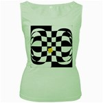 Dropout Yellow Black And White Distorted Check Women s Green Tank Top Front