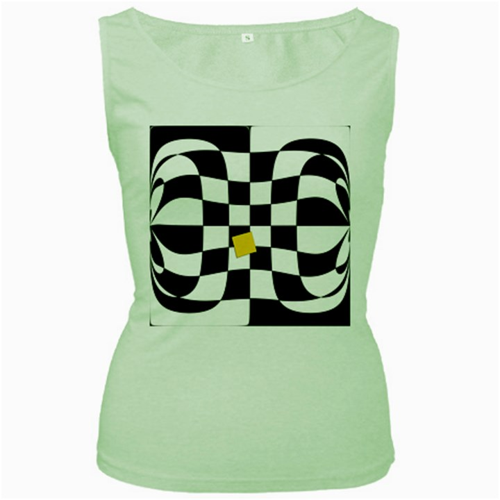 Dropout Yellow Black And White Distorted Check Women s Green Tank Top