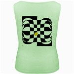 Dropout Yellow Black And White Distorted Check Women s Green Tank Top Back
