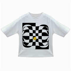 Dropout Yellow Black And White Distorted Check Infant/toddler T Shirts