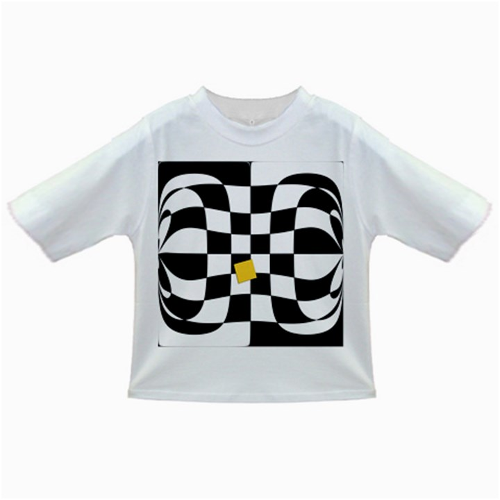 Dropout Yellow Black And White Distorted Check Infant/Toddler T-Shirts