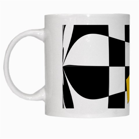 Dropout Yellow Black And White Distorted Check White Mugs
