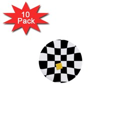 Dropout Yellow Black And White Distorted Check 1  Mini Buttons (10 Pack)