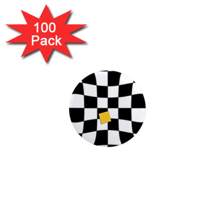 Dropout Yellow Black And White Distorted Check 1  Mini Magnets (100 pack)