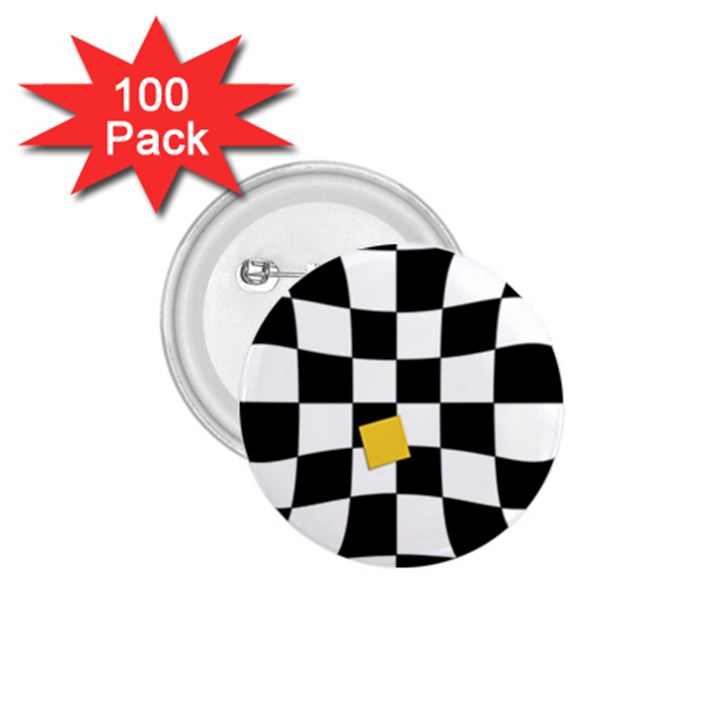 Dropout Yellow Black And White Distorted Check 1.75  Buttons (100 pack)