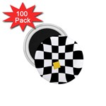Dropout Yellow Black And White Distorted Check 1.75  Magnets (100 pack)  Front