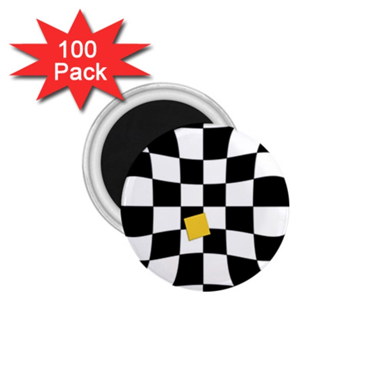 Dropout Yellow Black And White Distorted Check 1.75  Magnets (100 pack)