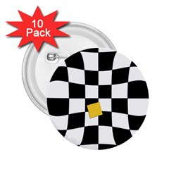 Dropout Yellow Black And White Distorted Check 2 25  Buttons (10 Pack)