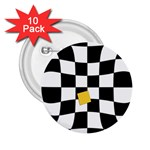 Dropout Yellow Black And White Distorted Check 2.25  Buttons (10 pack)  Front