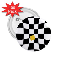 Dropout Yellow Black And White Distorted Check 2 25  Buttons (100 Pack)
