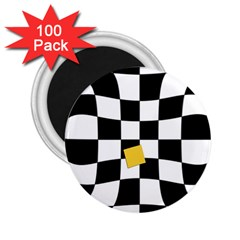 Dropout Yellow Black And White Distorted Check 2 25  Magnets (100 Pack)