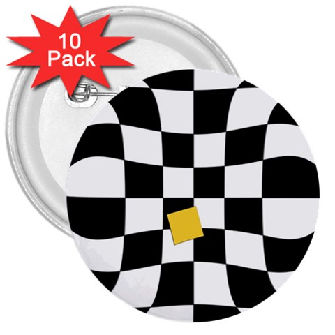 Dropout Yellow Black And White Distorted Check 3  Buttons (10 pack)