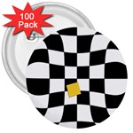 Dropout Yellow Black And White Distorted Check 3  Buttons (100 pack)  Front