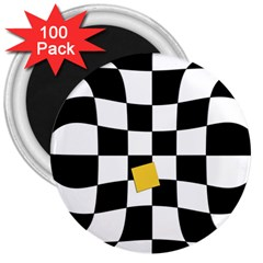 Dropout Yellow Black And White Distorted Check 3  Magnets (100 pack)