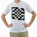 Dropout Yellow Black And White Distorted Check Men s T-Shirt (White) (Two Sided) Front