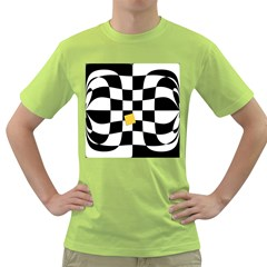 Dropout Yellow Black And White Distorted Check Green T Shirt