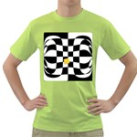 Dropout Yellow Black And White Distorted Check Green T-Shirt Front