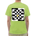 Dropout Yellow Black And White Distorted Check Green T-Shirt Back