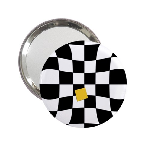 Dropout Yellow Black And White Distorted Check 2.25  Handbag Mirrors