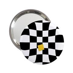 Dropout Yellow Black And White Distorted Check 2 25  Handbag Mirrors