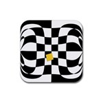 Dropout Yellow Black And White Distorted Check Rubber Coaster (Square)  Front