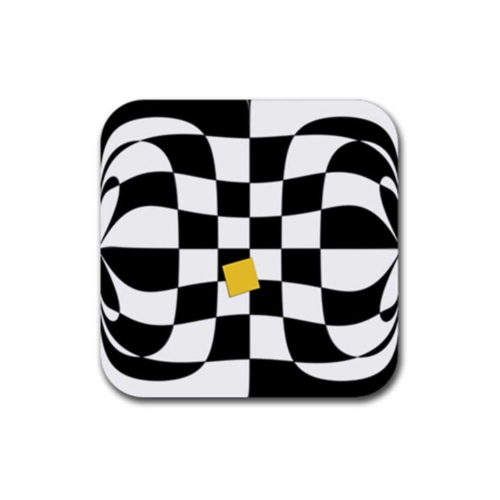 Dropout Yellow Black And White Distorted Check Rubber Coaster (Square)