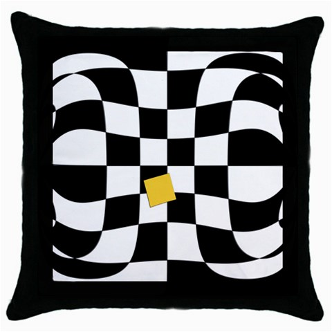 Dropout Yellow Black And White Distorted Check Throw Pillow Case (Black)