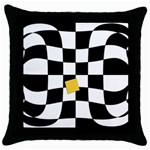 Dropout Yellow Black And White Distorted Check Throw Pillow Case (Black) Front
