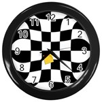 Dropout Yellow Black And White Distorted Check Wall Clocks (Black) Front