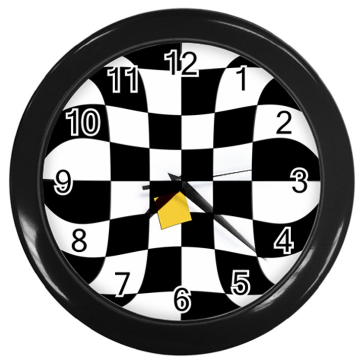 Dropout Yellow Black And White Distorted Check Wall Clocks (Black)