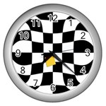 Dropout Yellow Black And White Distorted Check Wall Clocks (Silver)  Front
