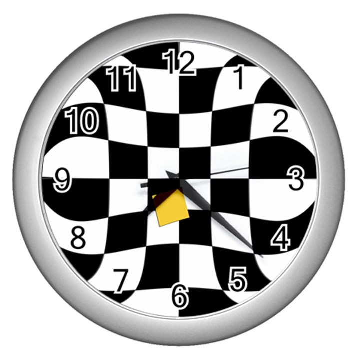 Dropout Yellow Black And White Distorted Check Wall Clocks (Silver)