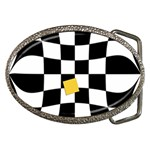 Dropout Yellow Black And White Distorted Check Belt Buckles Front