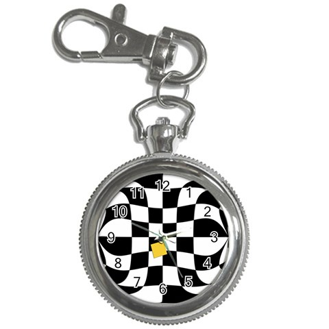Dropout Yellow Black And White Distorted Check Key Chain Watches