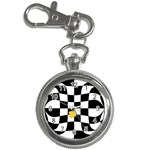 Dropout Yellow Black And White Distorted Check Key Chain Watches Front