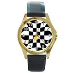 Dropout Yellow Black And White Distorted Check Round Gold Metal Watch Front