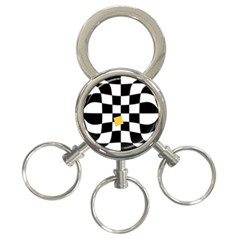 Dropout Yellow Black And White Distorted Check 3 Ring Key Chains