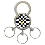 Dropout Yellow Black And White Distorted Check 3-Ring Key Chains Front