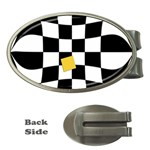 Dropout Yellow Black And White Distorted Check Money Clips (Oval)  Front