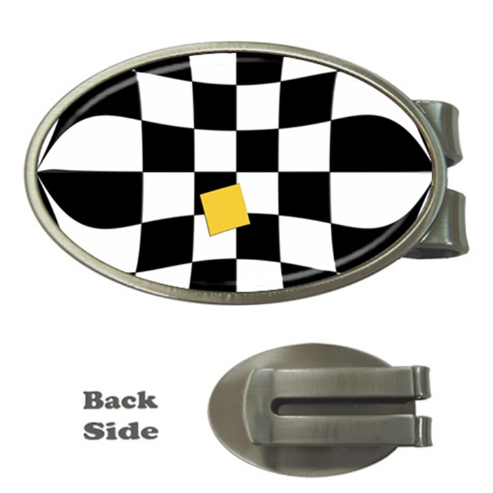 Dropout Yellow Black And White Distorted Check Money Clips (Oval)