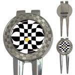 Dropout Yellow Black And White Distorted Check 3-in-1 Golf Divots Front