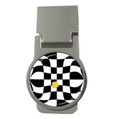 Dropout Yellow Black And White Distorted Check Money Clips (round)