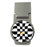 Dropout Yellow Black And White Distorted Check Money Clips (Round)  Front