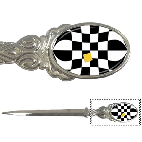 Dropout Yellow Black And White Distorted Check Letter Openers