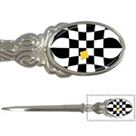 Dropout Yellow Black And White Distorted Check Letter Openers Front