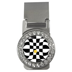 Dropout Yellow Black And White Distorted Check Money Clips (CZ)