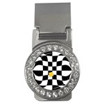 Dropout Yellow Black And White Distorted Check Money Clips (CZ)  Front